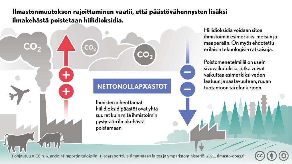Ilmastonmuutoksen rajoittaminen vaatii, että päästövähennysten lisäksi ilmakehästä poistetaan hiilidioksidia.
